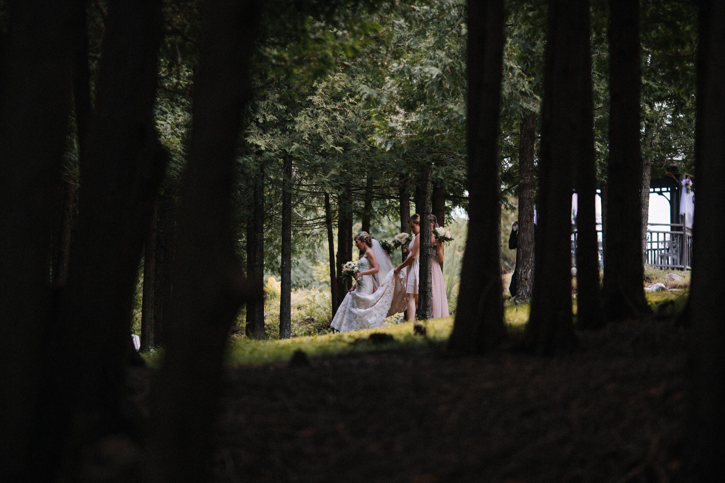 bridal party forest portraits