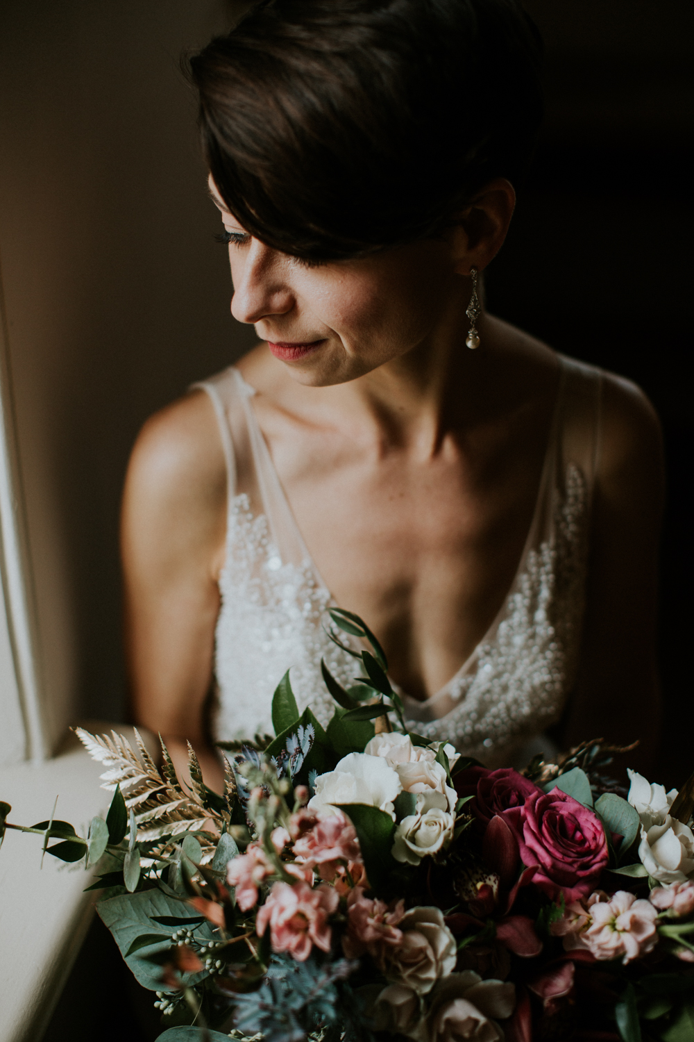 bridal portrait showing wedding bouquet