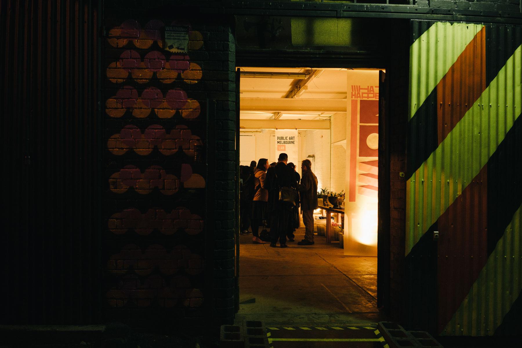 Biennial Lab entrance at night. Photo: Kristoffer Paulsen.