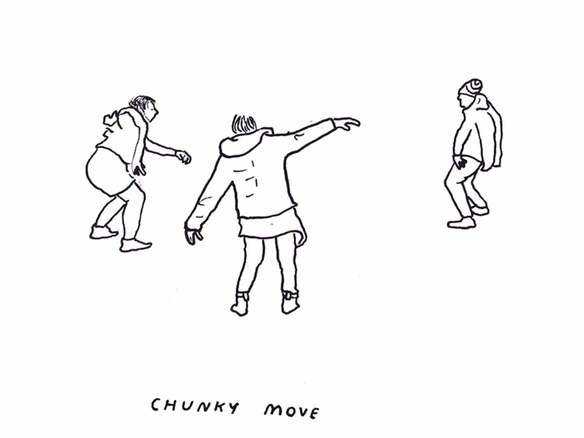 Movement workshop with Gideon Obarzanek: Illustration by Kenny Pittock.