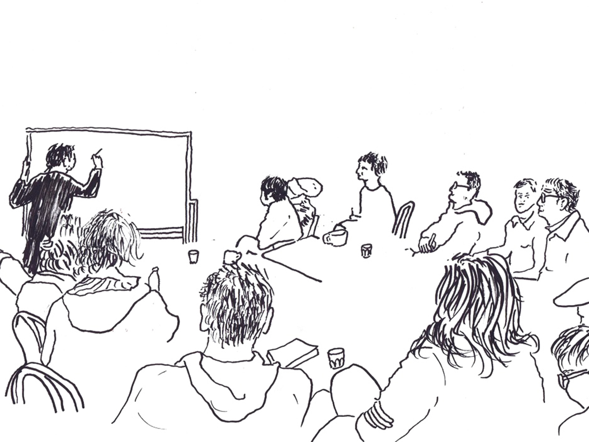 Food workshop with Chef Peter Gunn and Curator Laura Thompson. Illustration by Kenny Pittock.