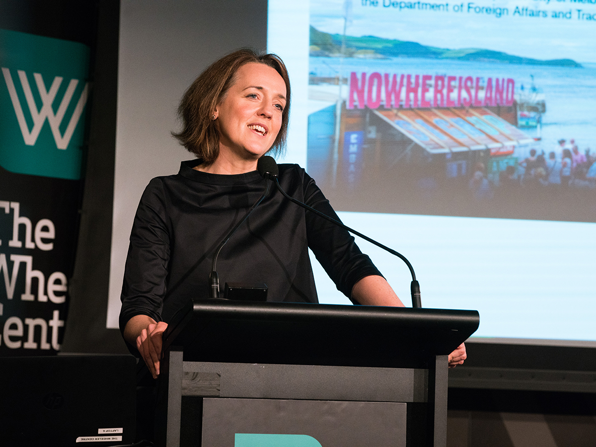 Biennial Lab Co-convenor and Director of Situations,Claire Doherty talks at The Wheeler Centre. Photo:Kristoffer Paulsen.