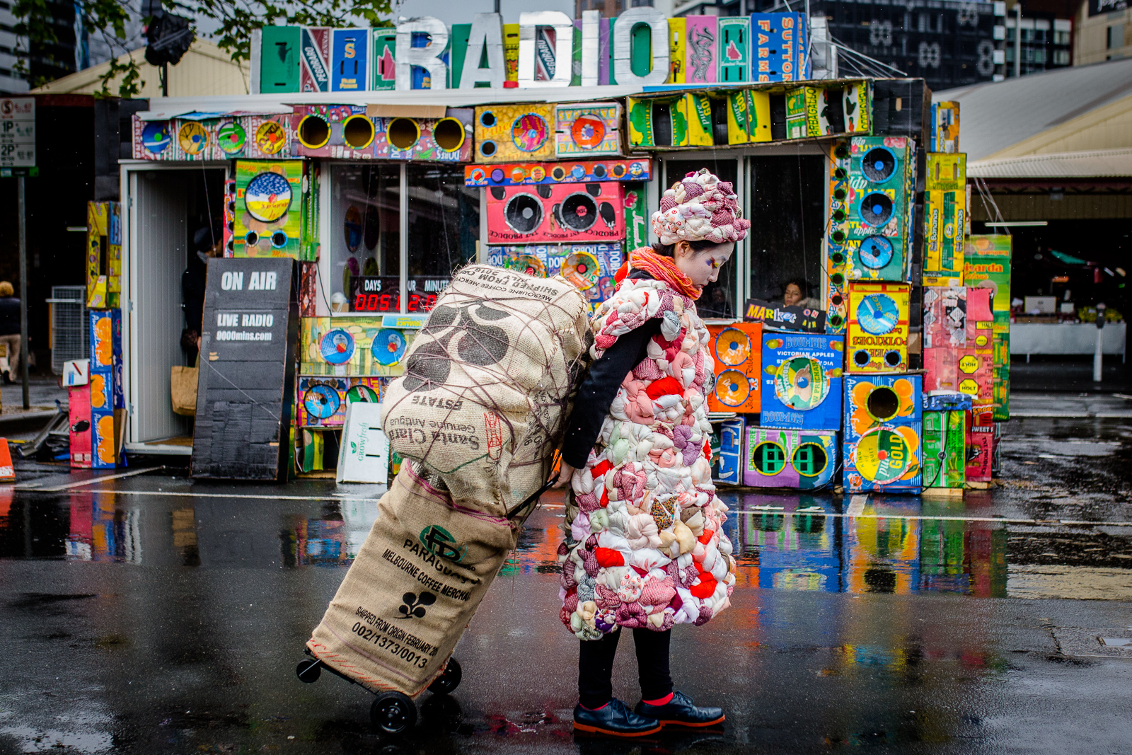 Hiromi Tango carries around a trolley as part of her work, Wrapped. Photo by Bryony Jackson.