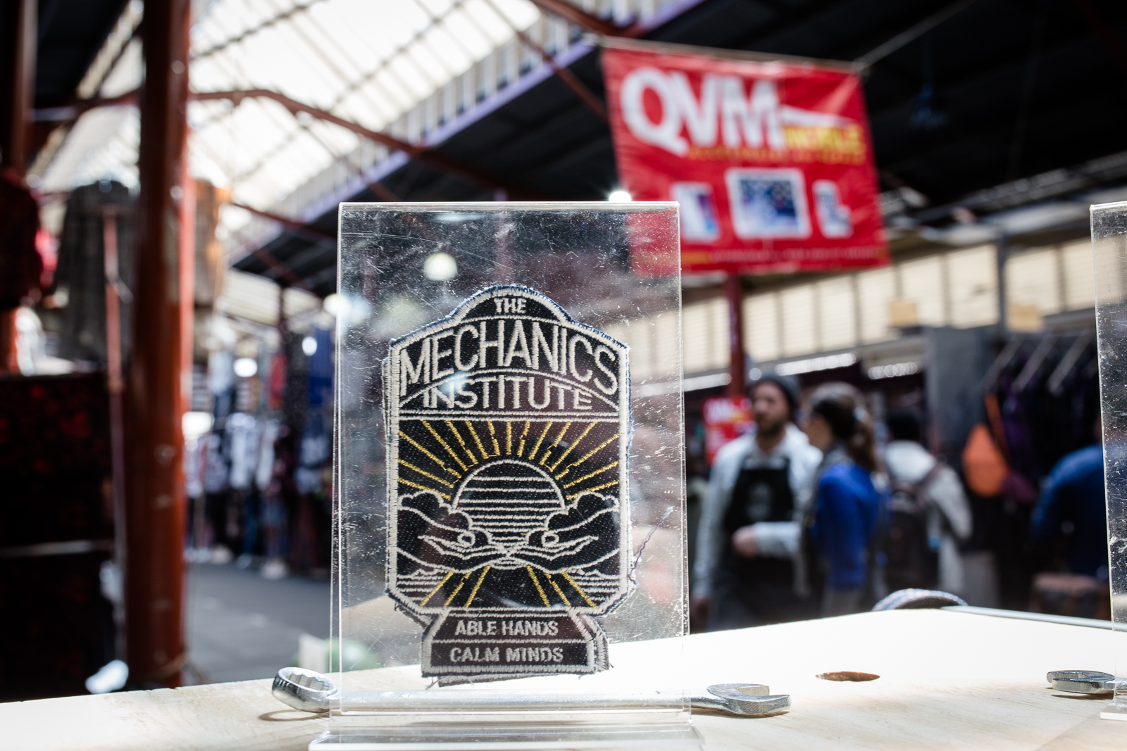 The Mechanics Institute's patch sitting on their counter as part of  Trade School . Photo by Bryony Jackson.