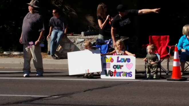 How cute is that? Her brother had a flag saluting the veterans.