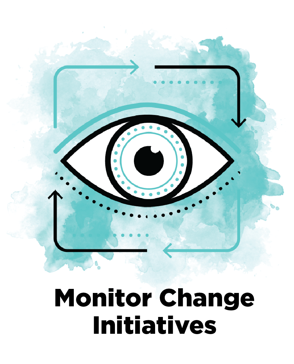 Monitoring Change Initiatives  Creating feedback systems to continuously monitor the change, thereby ensuring the stabilisation of new norms