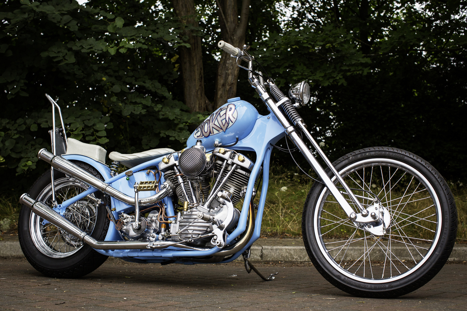 I built this 20 years ago as a Panhead but I took the Pan out and built that into a Pan bobber in a custom frame and now this bike has a Shovel crank and top-end. It's got split heads with external oiling. It's a 1950s wishbone frame with four-inch over Paughco narrow Glide forks and mini front brake. I originally built the bike in my shed at home and got it running right again recently to do the Bulldog Bash on it. The bike definitely has a 1970s-80s vibe and the name comes from the Steve Miller Band song 'The Joker'. There's been a lot of changes at Krazy Horse over the years. When it first started in the shed, Paul and Steve called me over to set up engines. I worked in a Kawasaki dealership at the time, but I've had Harleys for 40 years. They have a 'certain appeal'..