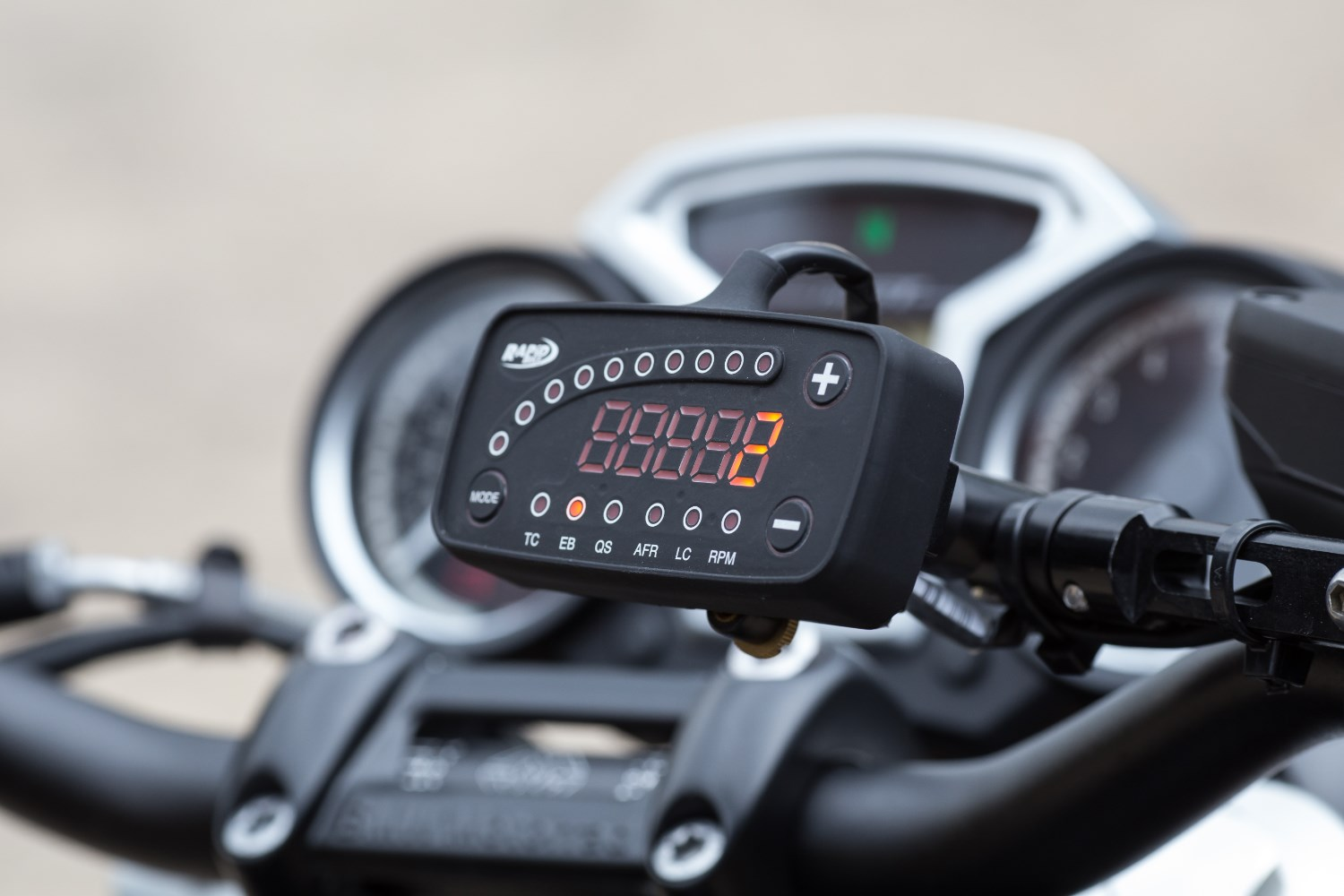 The Black Box This is the Rapid Bike control panel, where you can change settings for traction control (TC), engine braking (EB), quickshifter (QS), launch control (LC) and – careful now – the air fuel ratio (AFR). All the changes happen in real time.