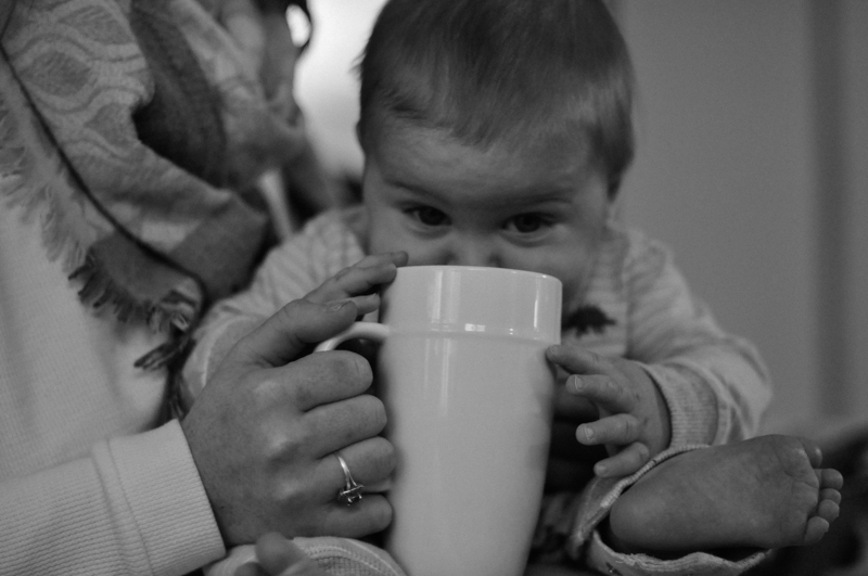newborn baby photography chesapeake beach baby with coffee mug