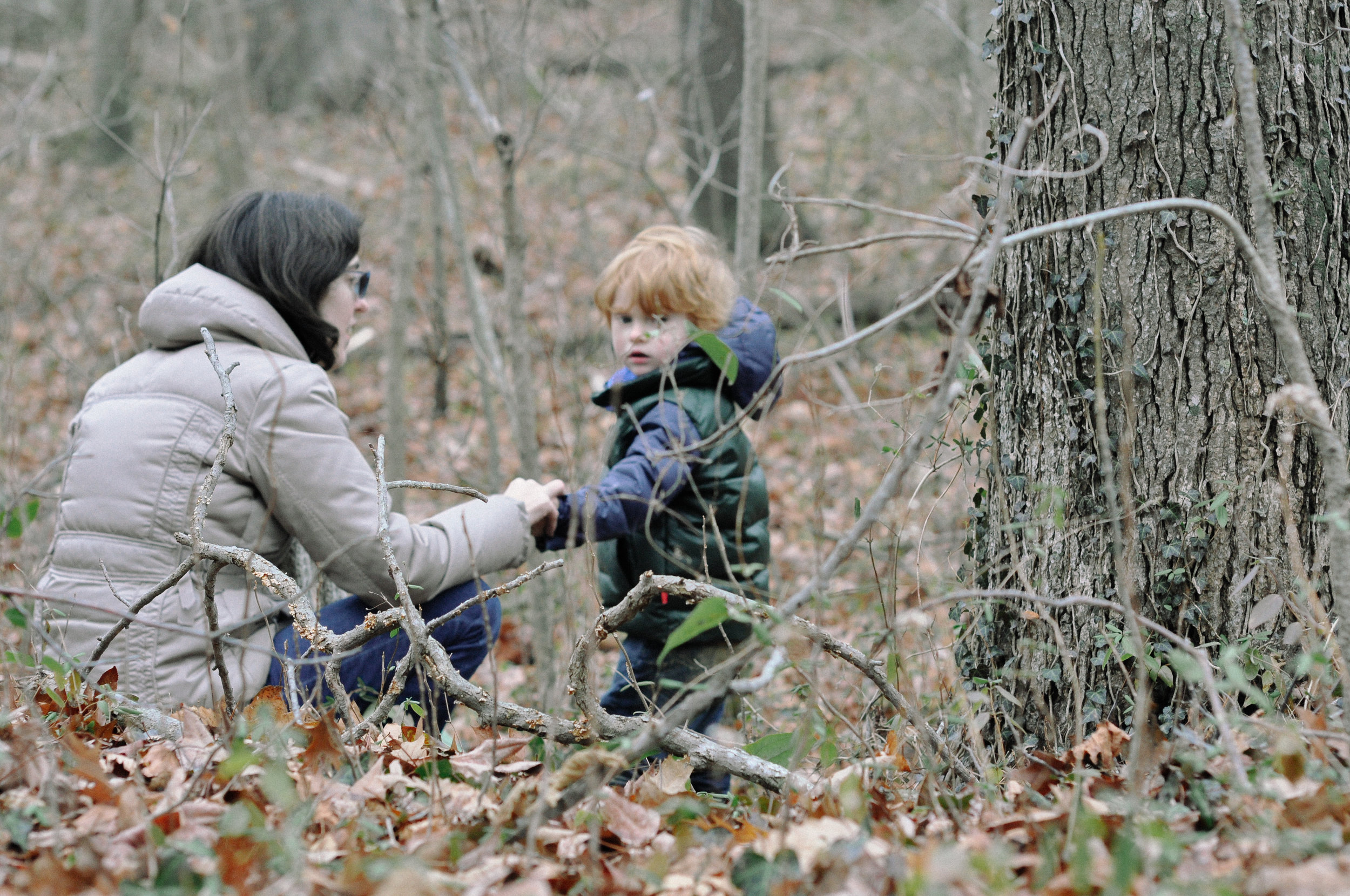 chesapeake beach family session into the woods