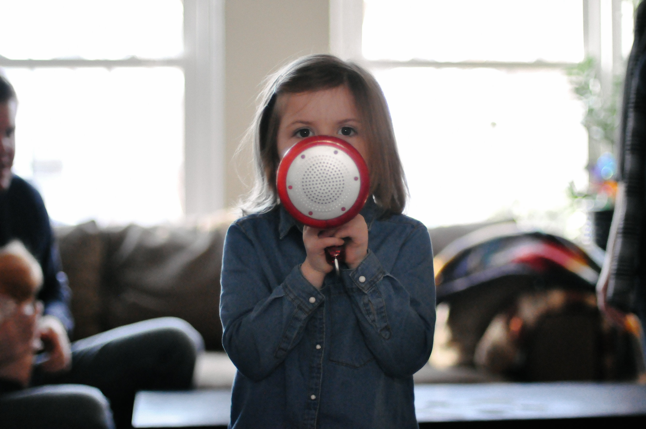 playing with a bullhorn