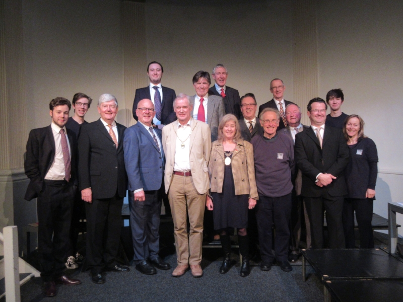 Director John Matthews with the cast and crew of  Democracy  with The Chair of BANES, Councillor Cherry Beath