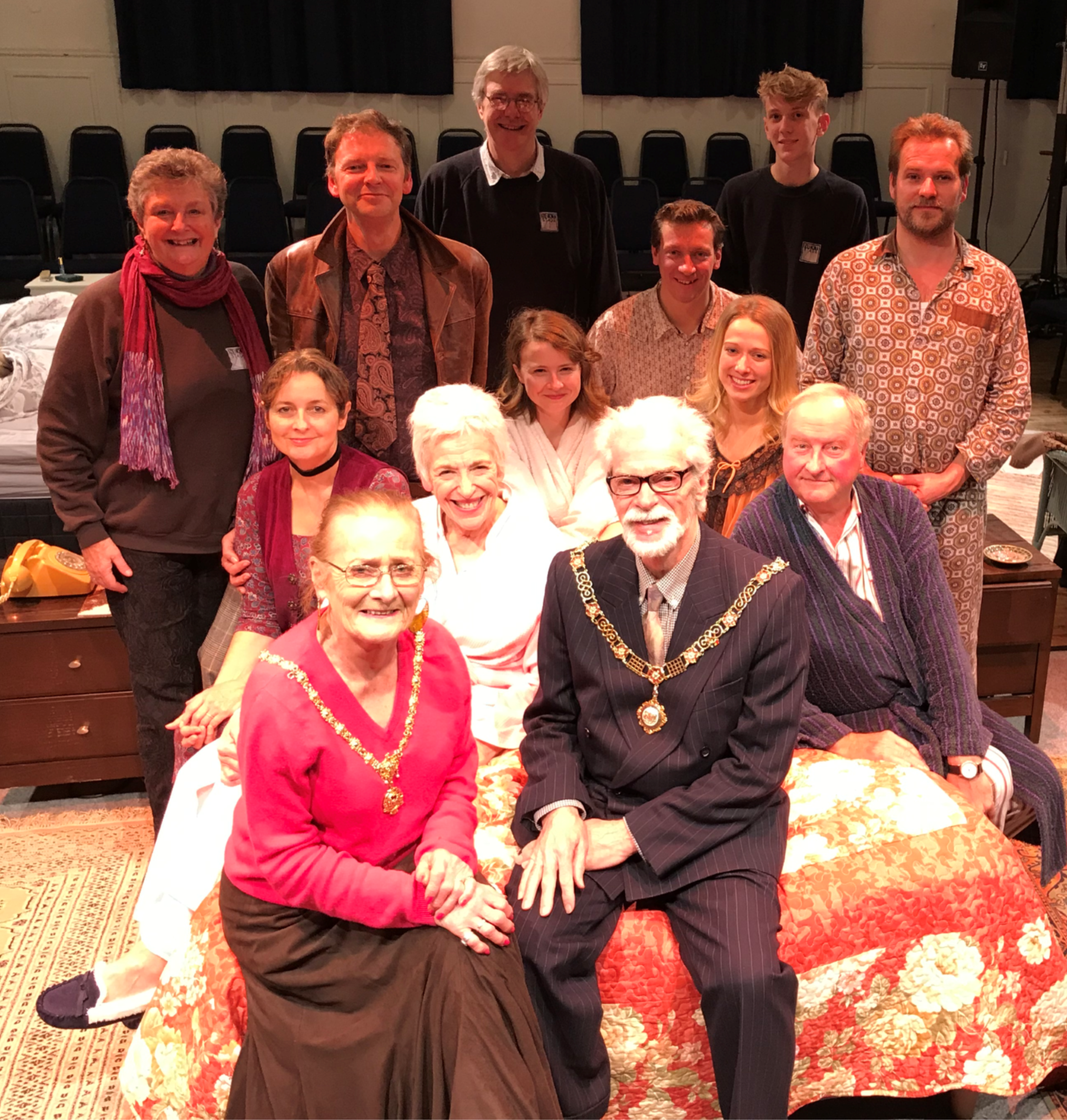 The Mayor and Mayoress of Bath with the cast and crew of  Bedroom Farce