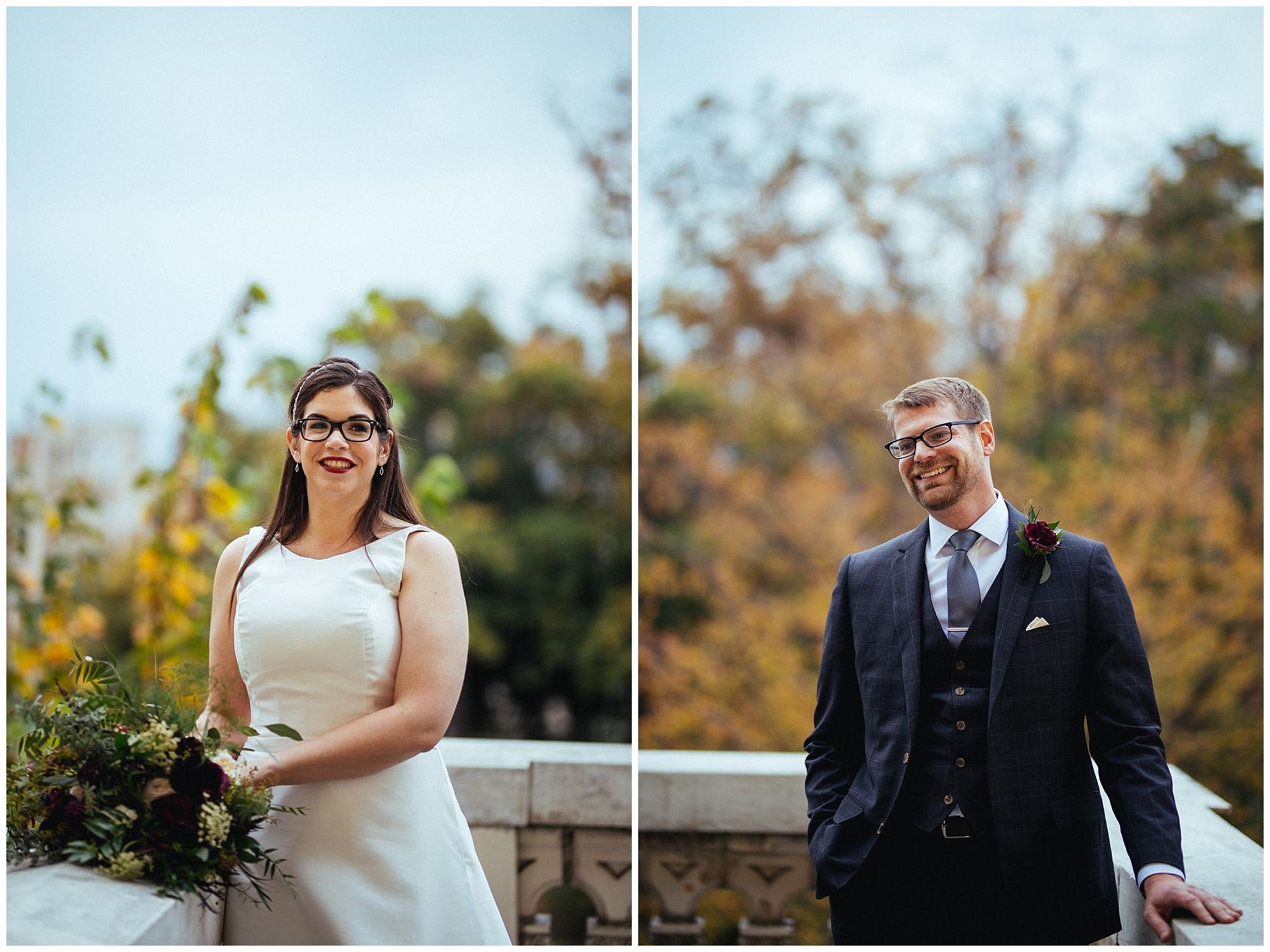 bride and groom fall wedding