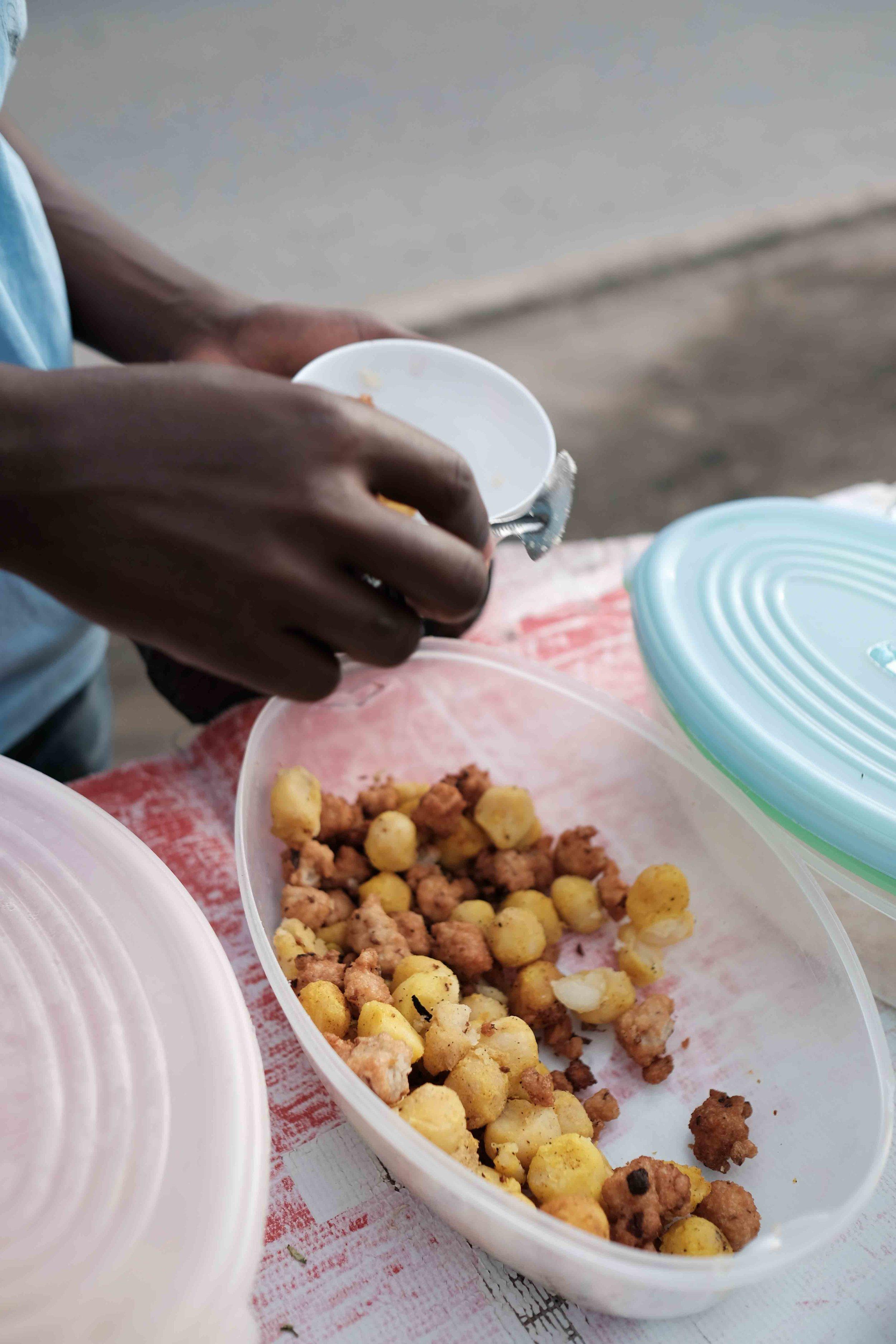 Kachori, bajia (Indian snacks localized for mix)