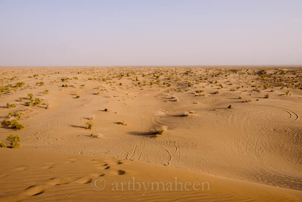 The desert in Iran's Kashan area. The dunes are massive, the weather harsh.