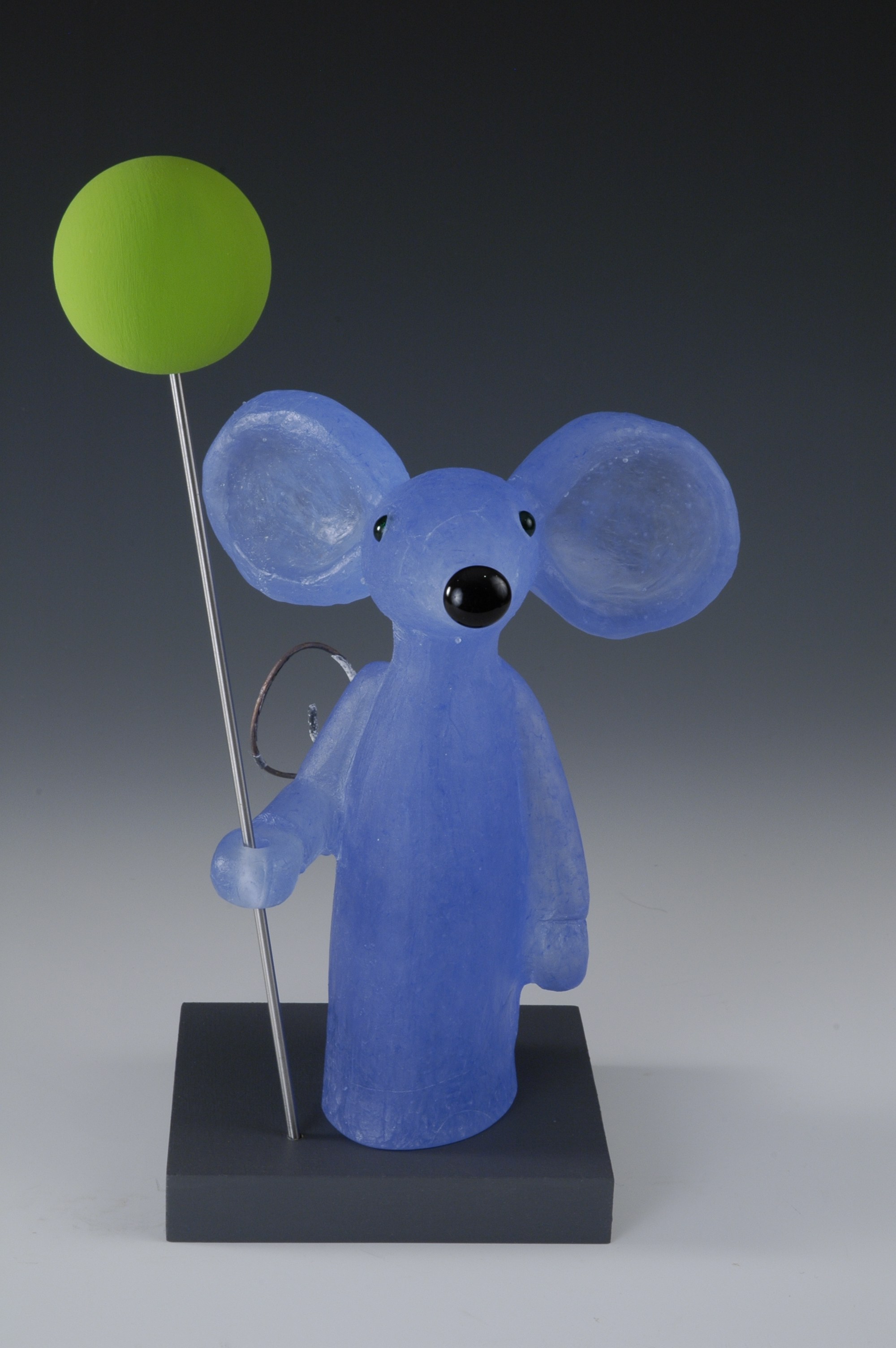 Blue Mouse with Green Balloon