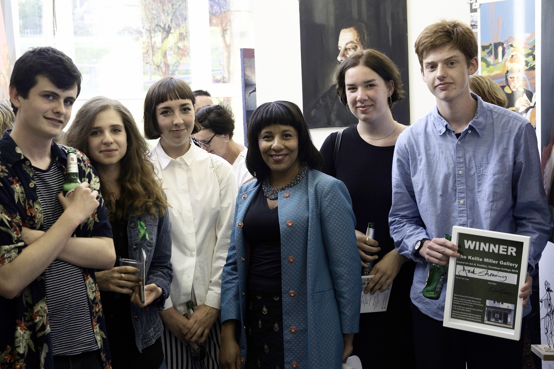 Kellie Miller (centre) with the short-listed students, including the winner, Jack Shearing (right)