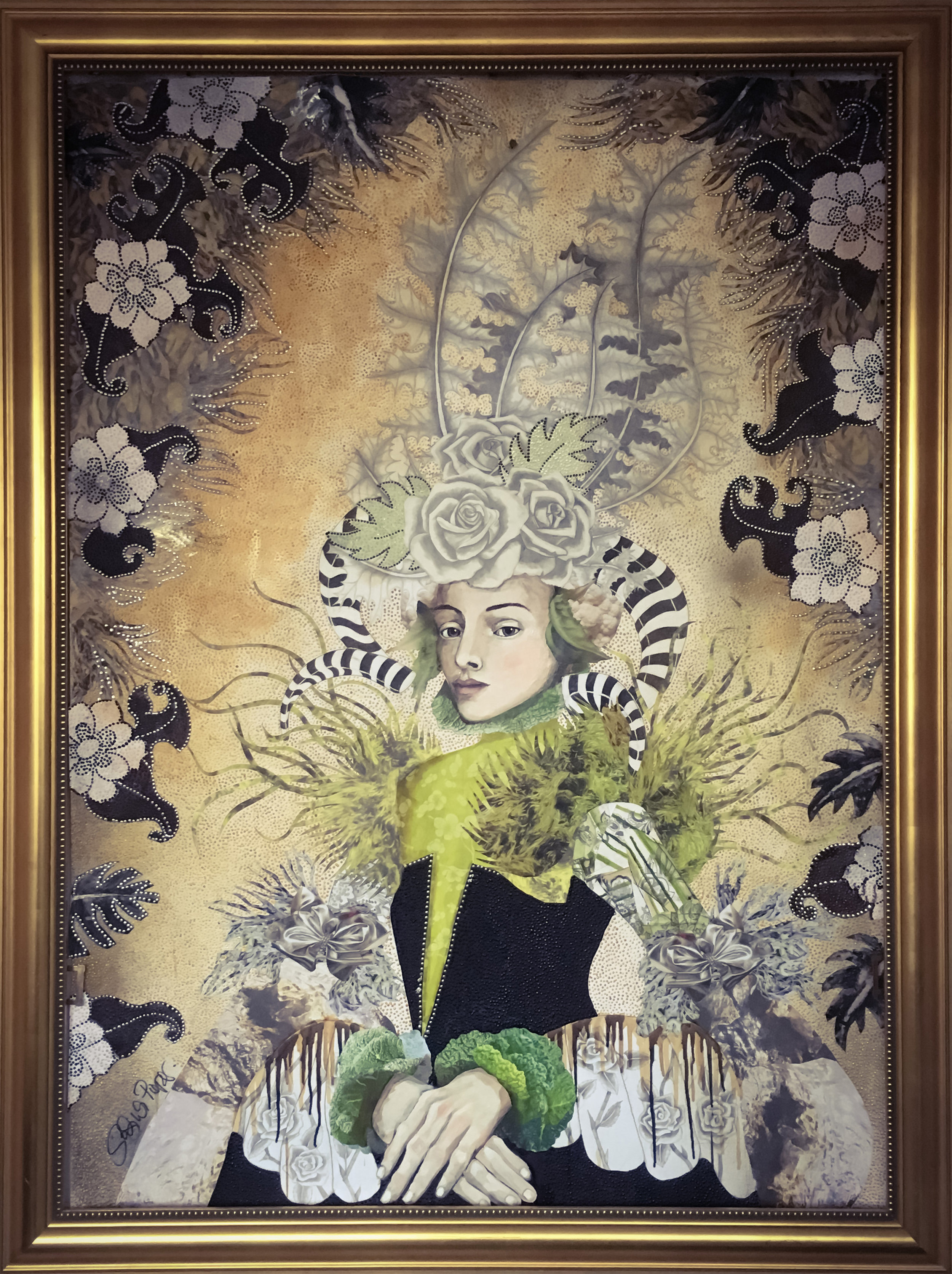 Sabina Pieper : Lady Ramure, 160 cm x 120 cm, orignal collage and painting