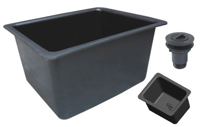 Sink, 22x18x12, black polypropylene - TSL2218SINK-B (25LBS) $206