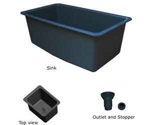 Sink, 32x18x13, black polypropylene - TSL3218SINK-B (30 LBS) $267