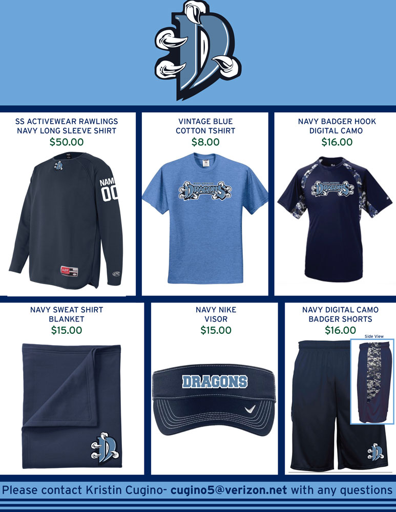 West Chester Dragons Spirit Wear for Spring 2016