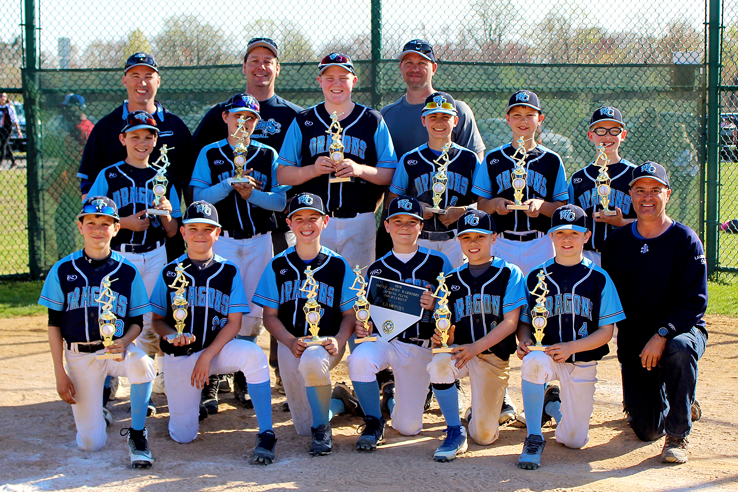 11U West Chester Dragons NL baseball team won the South Jersey Warriors Spring Fling 2018 Tournament in Swedesboro, New Jersey, on April 22, 2018.