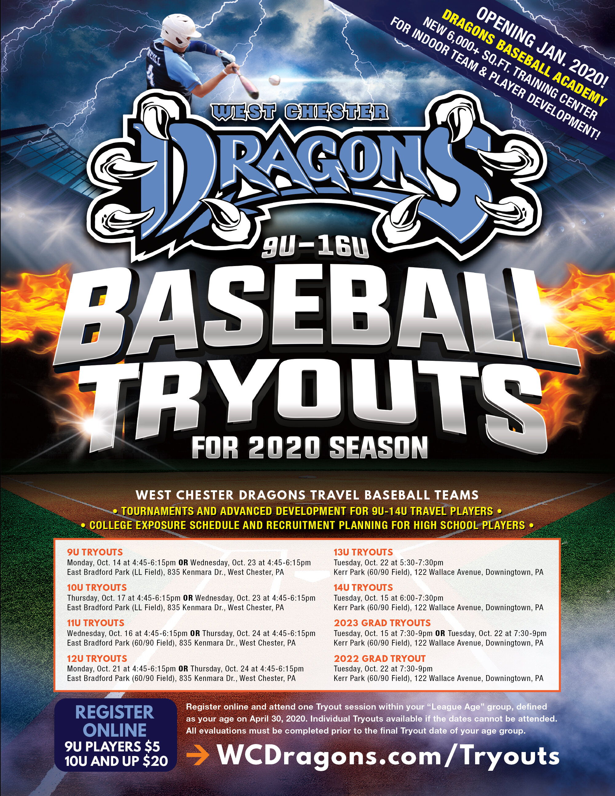 2020 Tryouts for the West Chester Dragons Travel Baseball Teams