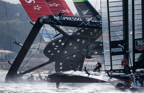 Emirates Team New Zealand nearly capsized during the eighth race of the America's Cup (AP)