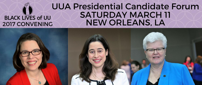 Pictured: current candidates for UUA President, Rev Susan Frederick-Gray, Rev Allison Miller & Rev. Jeanne Pupke