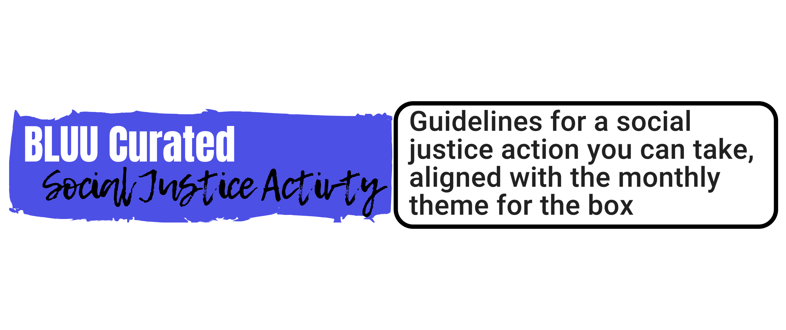 Curated Social Justice Activity:   guidelines for a social justice action you can take, aligned with the monthly theme for the box