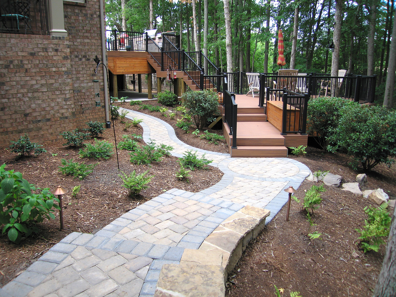 Hardscape walkway to multi-level decking