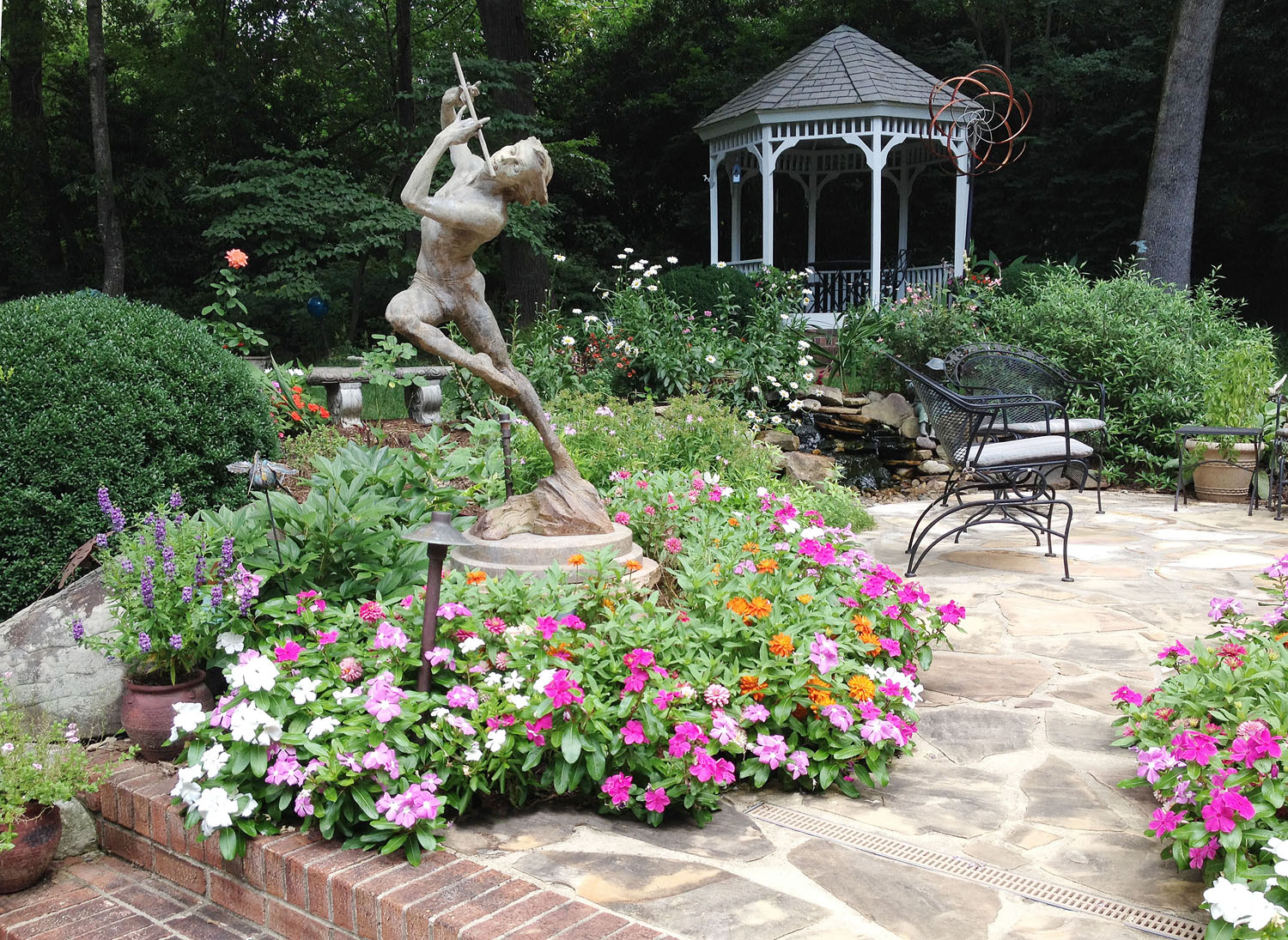 Foxcroft back yard hardscape and water feature