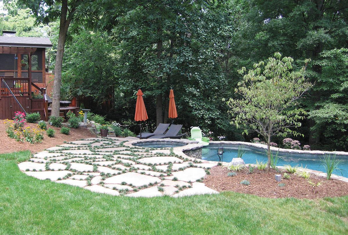 Sloped back yard pool design and installation