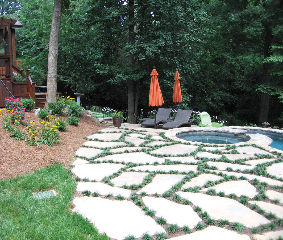 Custom poolscaping for a sloped back yard