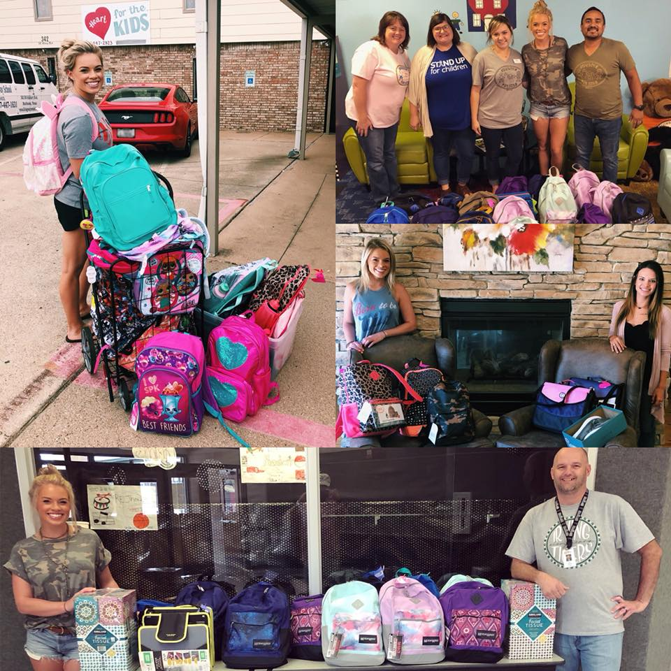Supplies for Success - Supplies for Success is a fundrasier Kendall started in 2018 to help raise funds to help local kids get new supplies for the school year. She donated her own money, time, and entrepreneur skills to provide over 100 backpacks filled with supplies for local school kids.Partnered Organizations: Heart for Kids, Children's Advocacy Center, Johnson County Crisis Center, Cleburne ISD schools