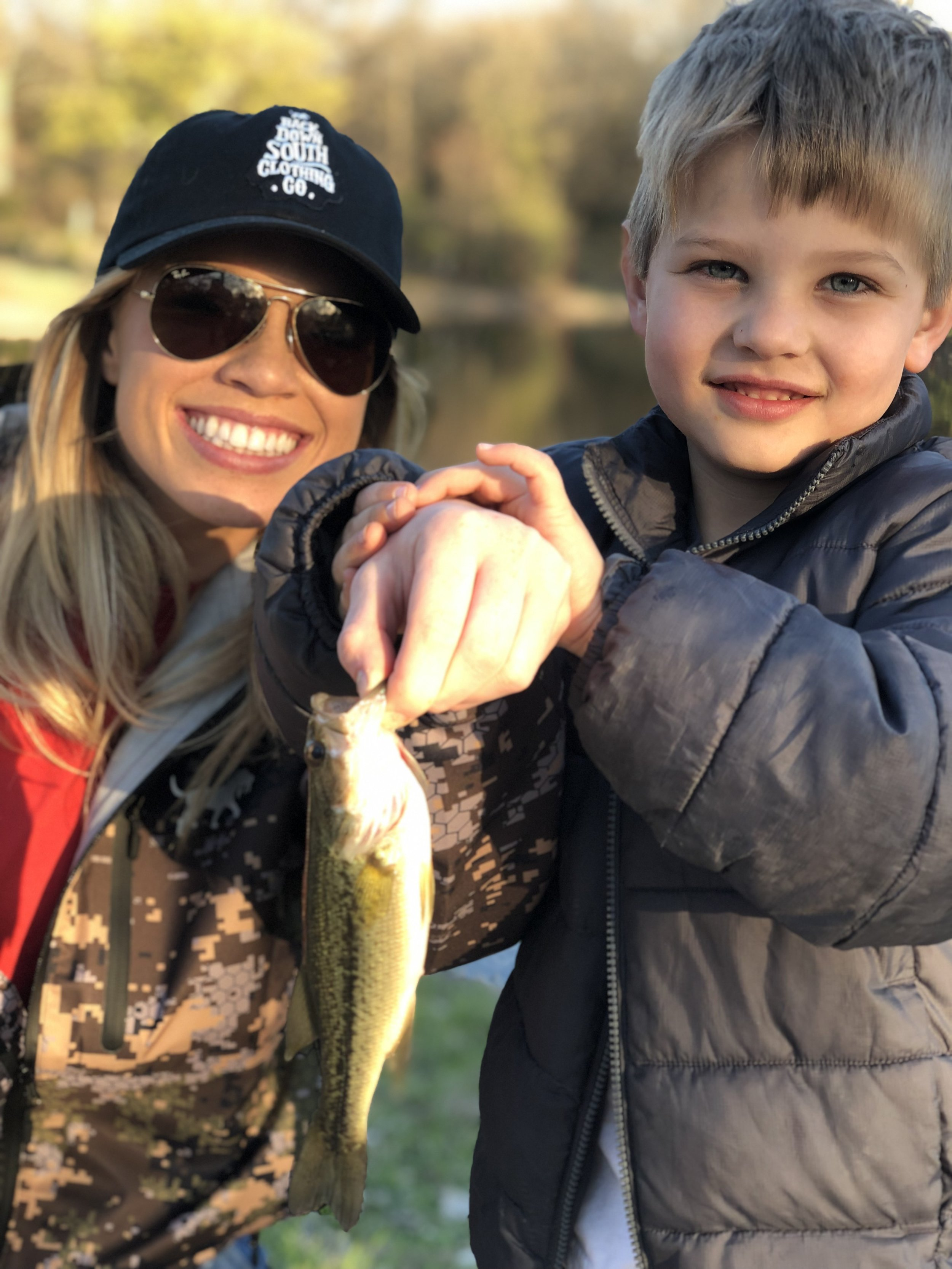 Kendall Jones with cousin fishing
