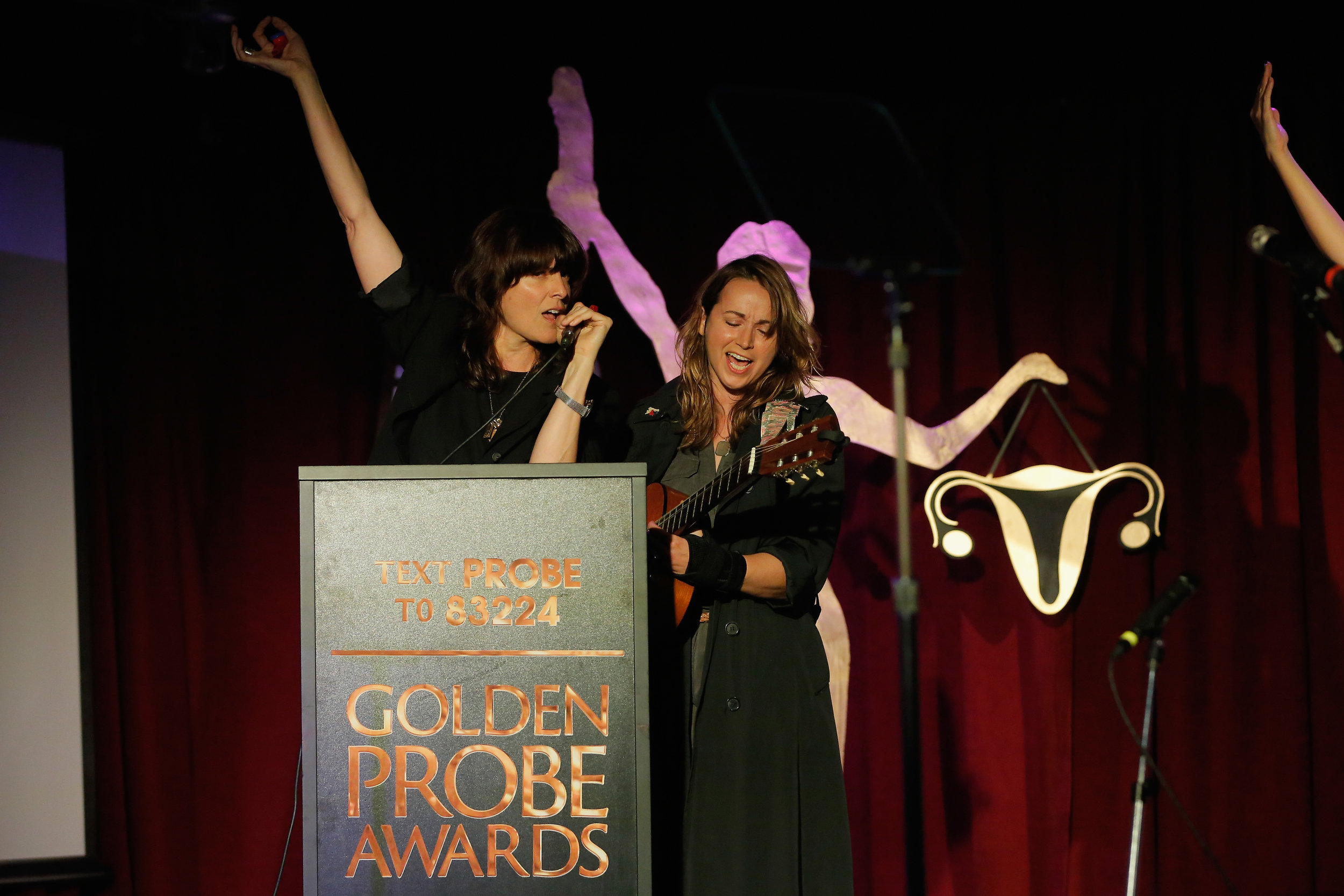 Ambrosia Parsley and Holly Miranda (Photo by Astrid Stawiarz/Getty Images for Lady Parts Justice)