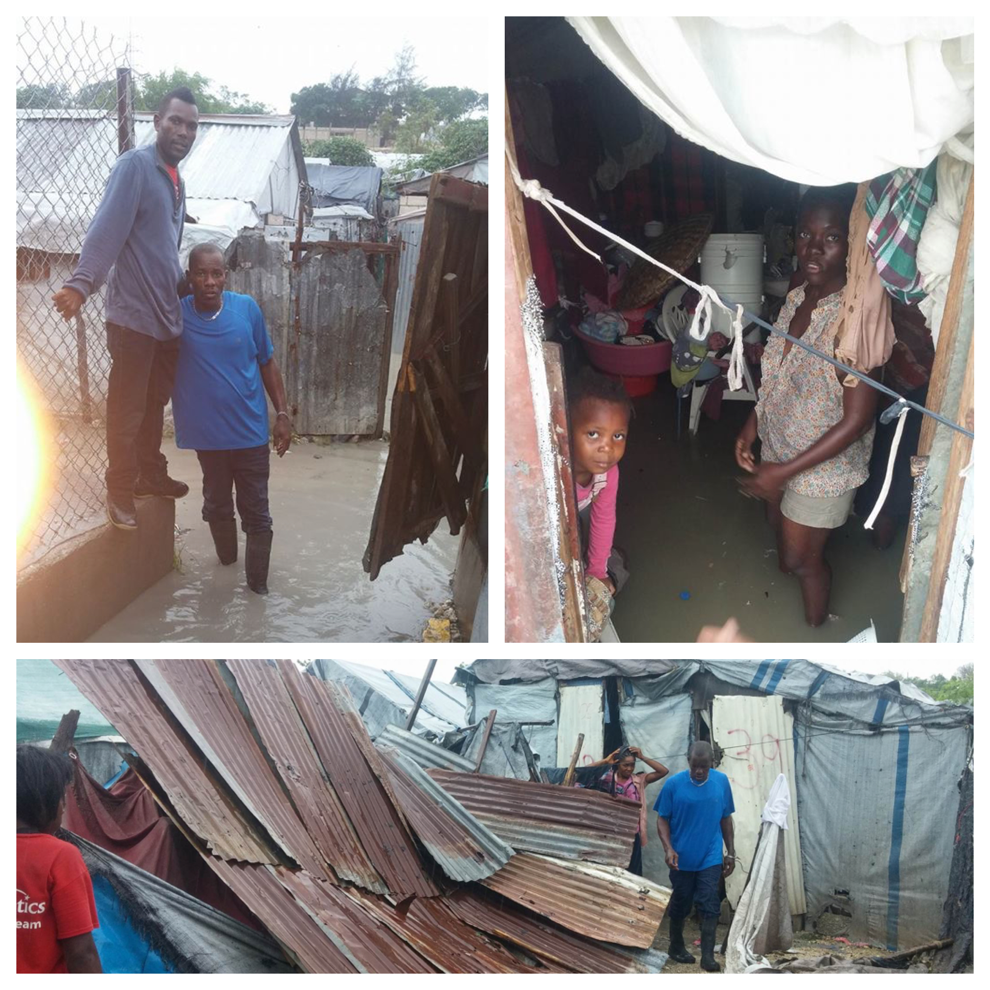 "Wooby and Papuche assess the damage at ""tent city"" where we support a small school for the poorest residents."