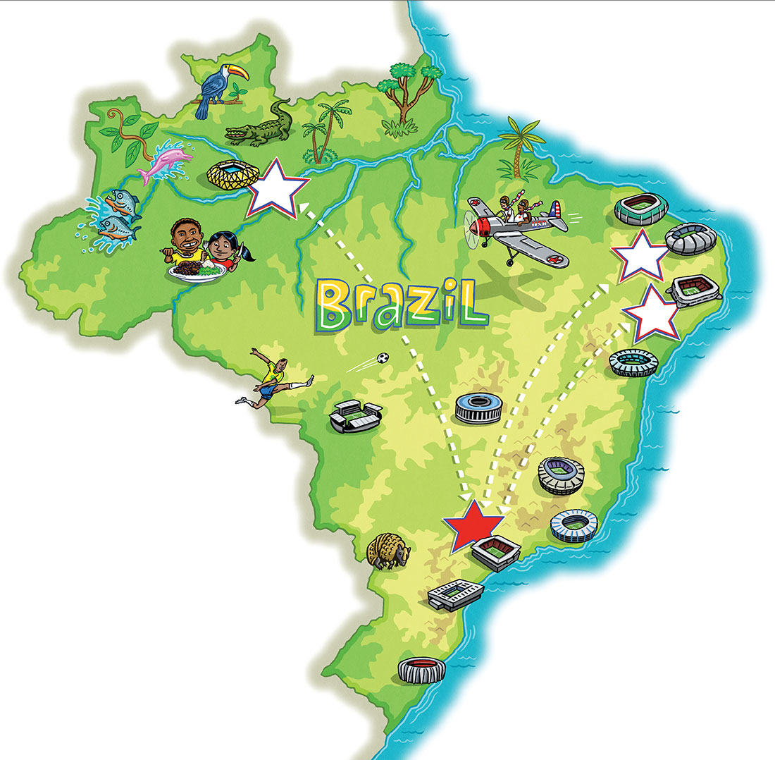 World Cup Brazil Map   SPORTS ILLUSTRATED FOR KIDS