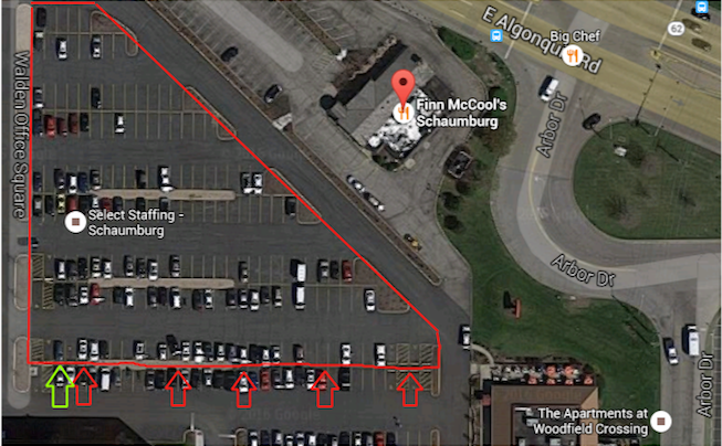 The entire outlined section is free to park. Start at the  GREEN arrow and continue to fill the lot toward Arbor Dr.
