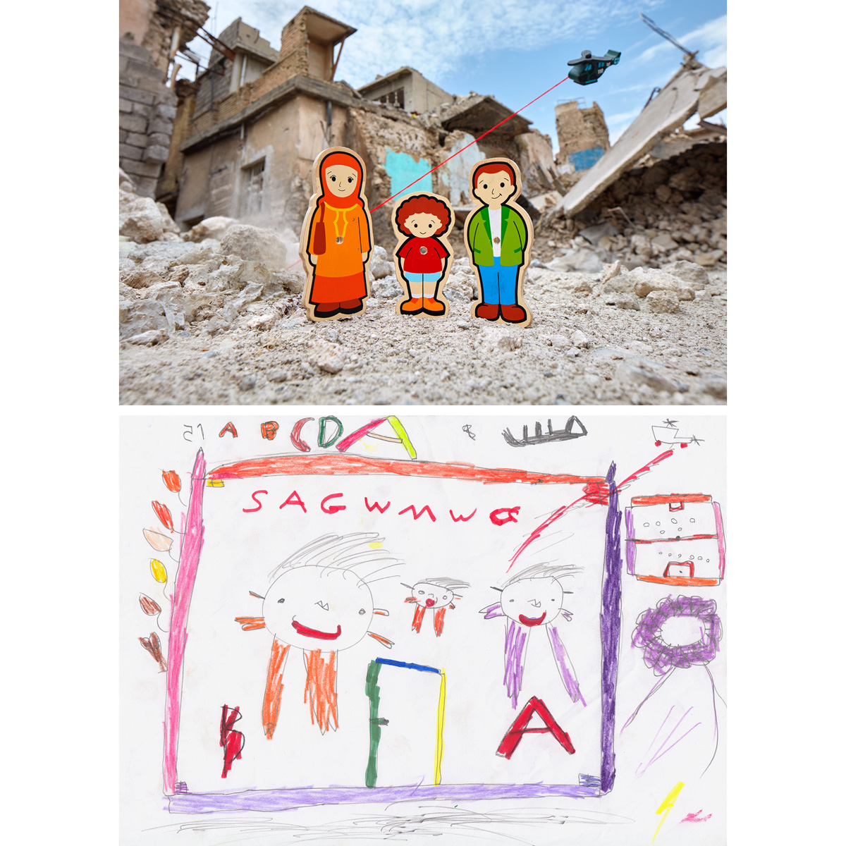 Homecoming - Old City of Mosul, Iraq2018At a child friendly space in the Debaga IDP Camp in Iraq, Hussein made a drawing showing he and his parents returning home, yet even at this hopeful event, a helicopter can be seen shooting at them from above. As he waited to show the art therapist his drawing, Hussein filled the blank spaces on his page by practicing the English letters he had been learning. A set of secondhand wooden toys were found in a bin at the Langa Bazaar in Erbil. The figures looked like they once belonged to a puzzle for a young child, one where each family member had a place where they fit, perhaps within a house. They were taken to the remains of the Old City in West Mosul, and Hussein's imagined homecoming was photographed within the current reality, still littered with corpses and explosive hazards.