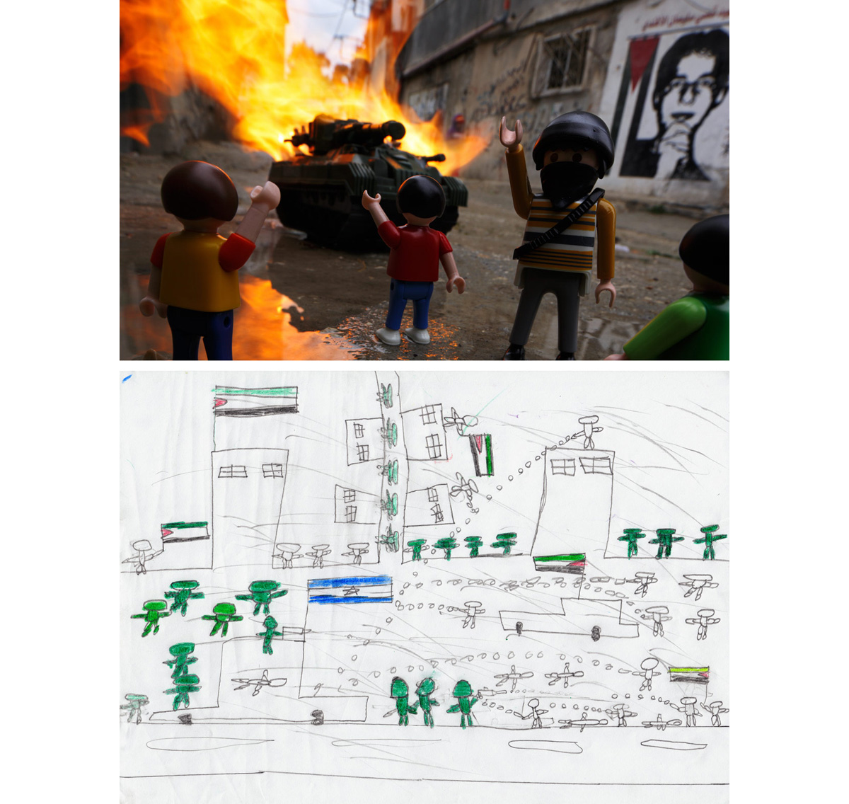 "Youth Resistance - Dheisheh Refugee Camp, West Bank2011""Asim"" dreamed of a youth resistance led by older peers to stop Israeli incursions into his camp outside of Bethlehem in the West Bank. He made an elaborate drawing showing groups of young refugees throwing stones at soldiers, tanks, and other vehicles. The mural in the background of the resulting photo is of 17-year-old camp martyr Qusai Alafandi. He was killed on 28 January 2008 after throwing a Molotov cocktail at Israeli Defense Forces inside the Dheisheh Refugee Camp."
