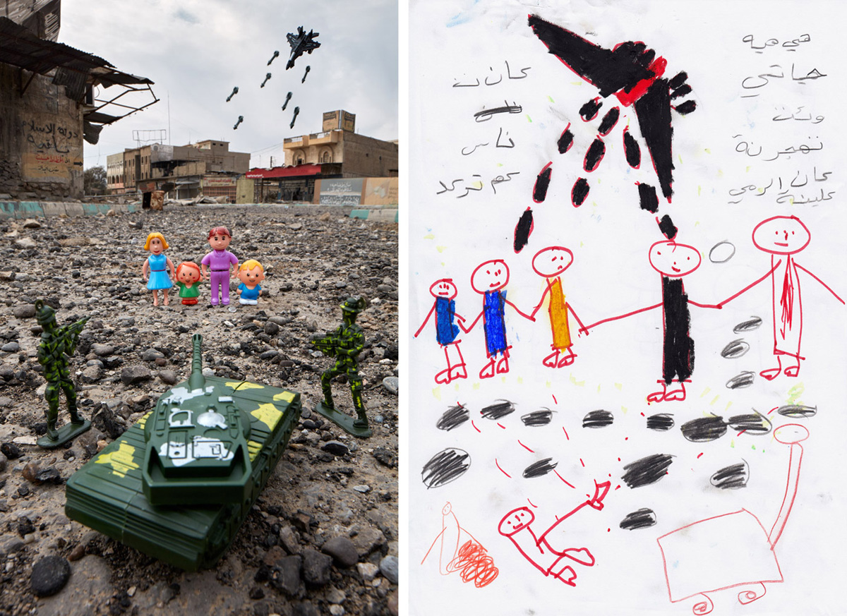 War Family - East Mosul, Iraq2017Noor's account of her family fleeing Mosul was recreated in a newly liberated section of the city while fighting raged on less than kilometer away. In her drawing, she made no distinction between IS and US-backed Iraqi forces. Both were equal threats to her. Noor was one of an estimated 950,000 people displaced from their homes in Mosul and forced to cross frontlines to reach safety. The plastic family, soldiers, and vehicles were found in local bazaars and photographed underneath an ISIS billboard (top left) and against graffiti proclaiming that the Islamic State was never leaving.