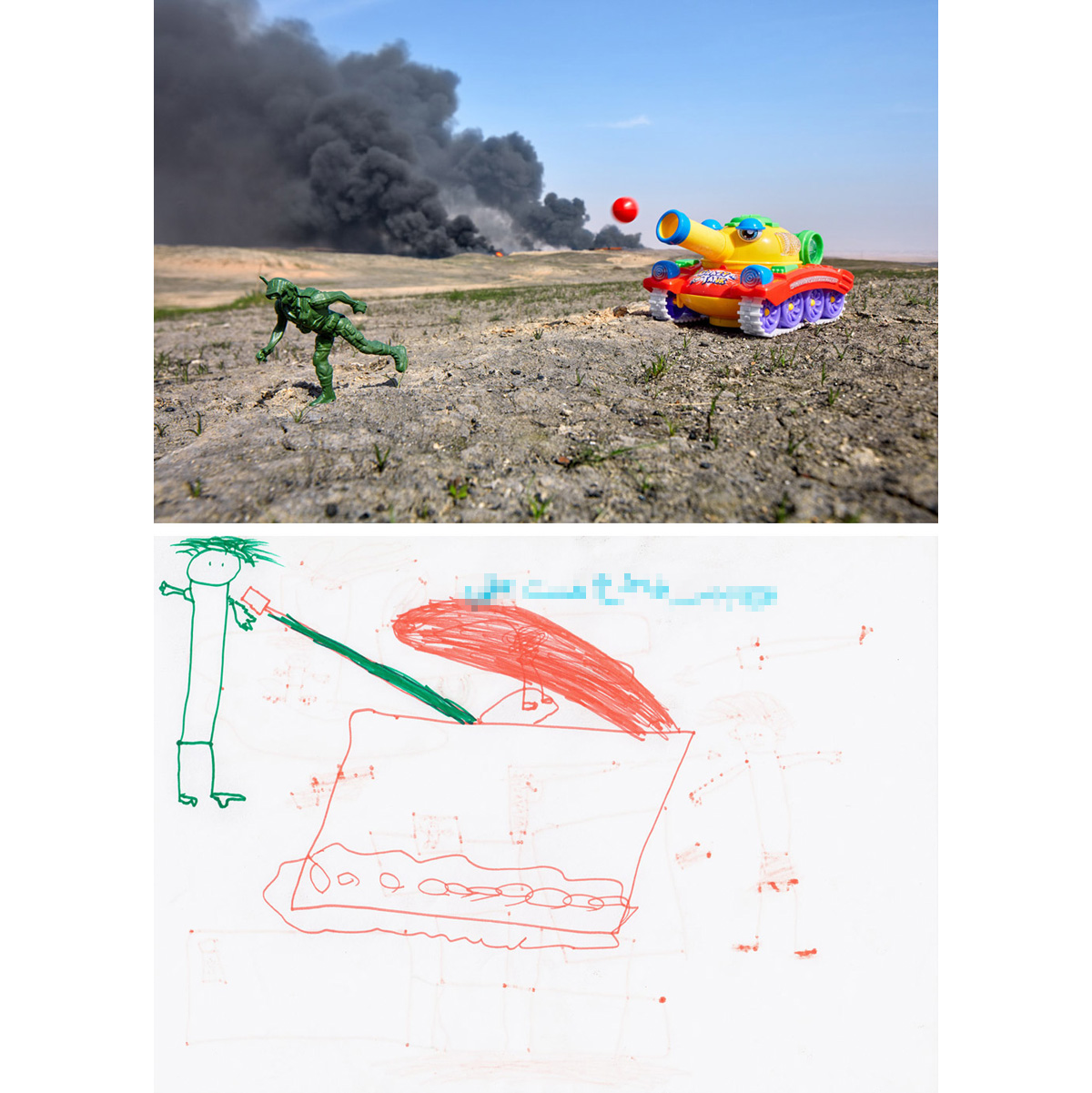 "Crazy Tank - Qayyarah, Iraq2017In a recently reopened school in Qayyarah, Iraq, ""Mas'ud"" created a very direct drawing showing what he said was a tank killing Daesh (ISIS). The town had been under ISIS control for two years and only just liberated. A plastic solider and electronic tank purchased nearby were photographed in the burning oil fields on the outskirts of town, next to tank tracks left during the fight over the territory. The area around the burning wells was heavily littered with mines, greatly complicating efforts to extinguish the blazes. The smoke that loomed over the city helped feed the lingering fears of Mas'ud and the other children in town."