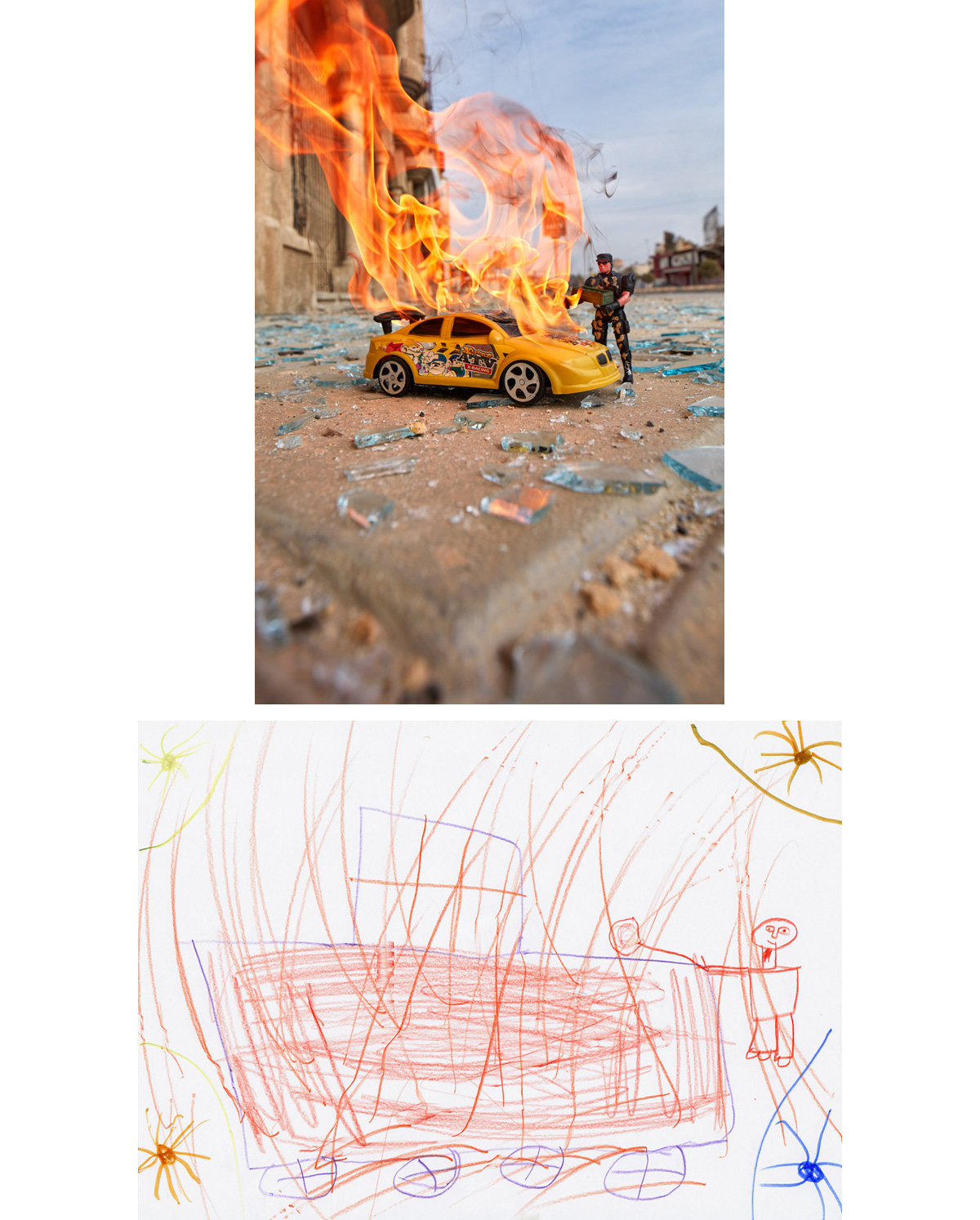 "Suicide Car Bomber - East Mosul, Iraq2017Inside the Hassansham IDP Camp, at a Child Friendly Space provided by TdH Italia and UNICEF, a young girl named ""Shadiya"" made a drawing of what she said was a Daesh soldier placing a bomb onto a car. She then violently filled the page with orange and yellow scribbles that covered the vehicle and figure, showing an explosion. Days later, the girl's account was recreated in East Mosul using locally found toys that were placed, posed, and set ablaze in shards of glass from a building destroyed by a suicide car bomber. A young militant, not too much older than other children in the camp, had driven a car loaded with explosives into the frontlines of Iraqi forces trying to retake the city from ISIS."