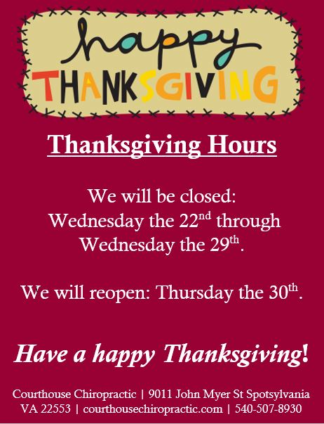 spotsylvania chiropractor thanksgiving hours