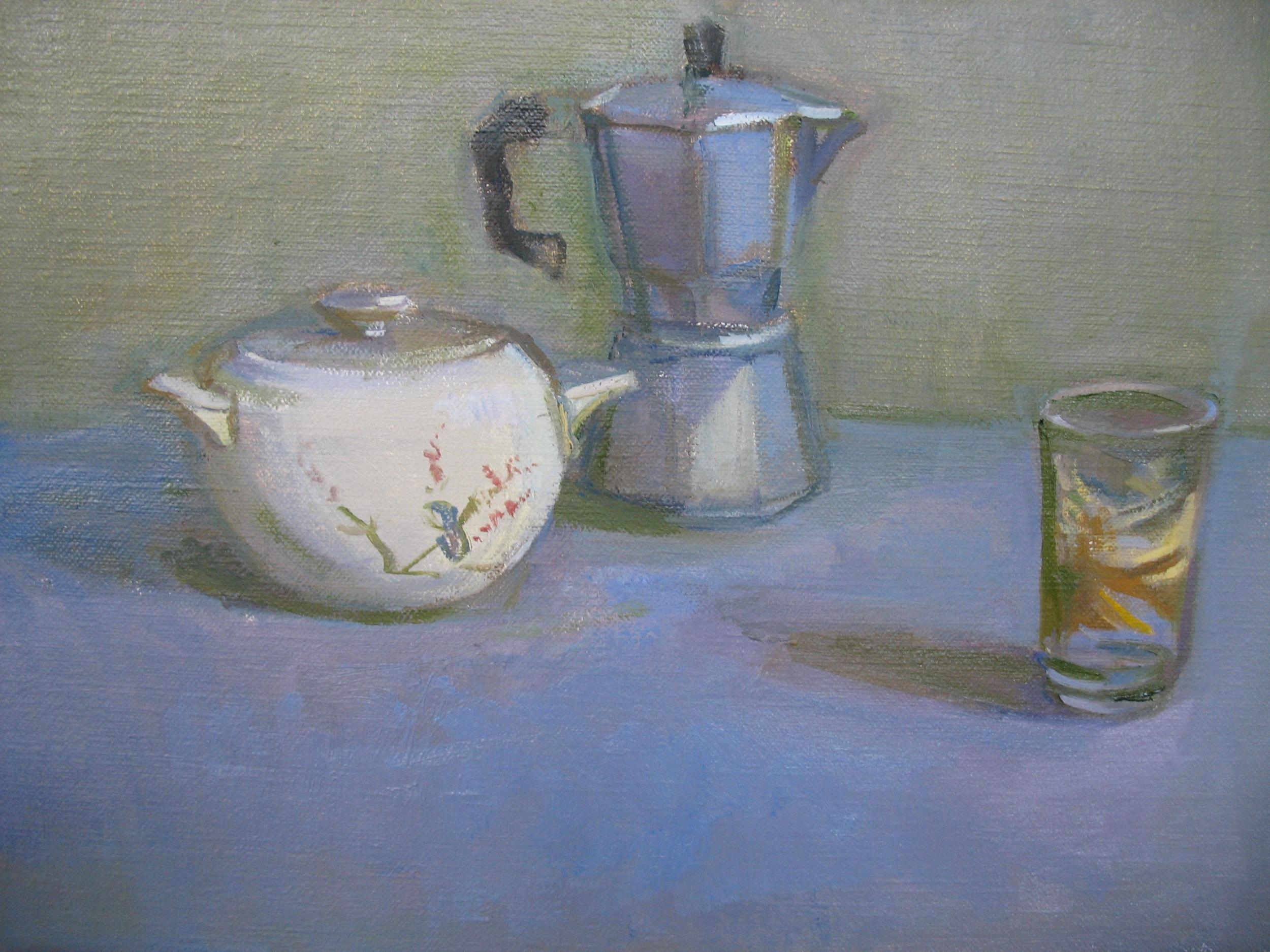 Sugar Bowl, Espresso Pot, Small Glass