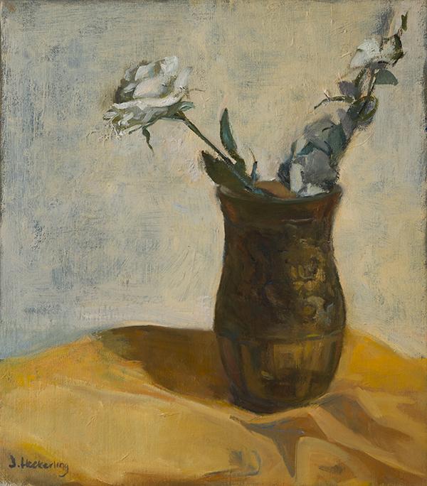 Amber Vase, White Flowers