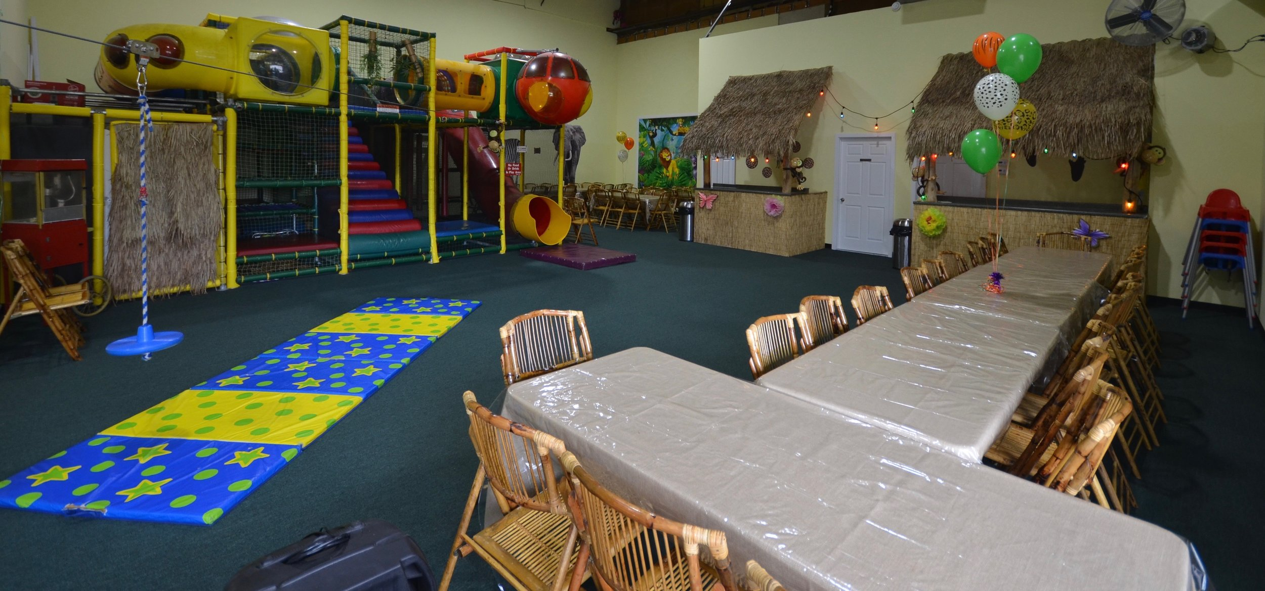 Come party & explore our all new 3,200 sq ft facility featuring 2 jungle gyms, a zip line, rock wall, and ball pit!  Accommodations for up to 100 guests! And only one private party at a time.